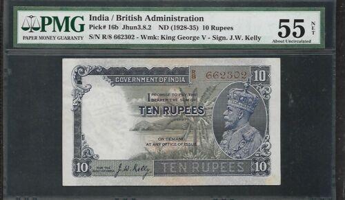 INDIA - Old 10 Rupee Note (1928-35)  P16b - PMG 55 AU