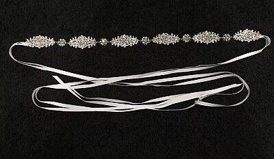 Swarovski Crystal Clothes - Bridal Gown Dress Swarovski Crystal Embellishment Silk Sash Belt New