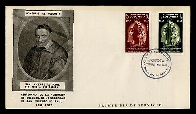 DR WHO 1957 COLOMBIA FDC SAINT VINCENT DE PAUL FOUNDATION CENTENARY C244613