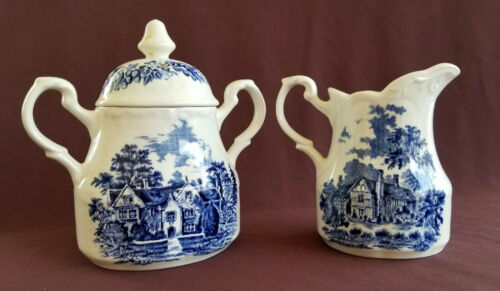 ROMANTIC ENGLAND Vintage J&G Meakin SUGAR and CREAMER WITH LID Blue Transferware