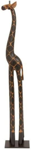 59 Inches Hand Carved Wooden African Giraffe Statue Sculpture Tropical Jungle
