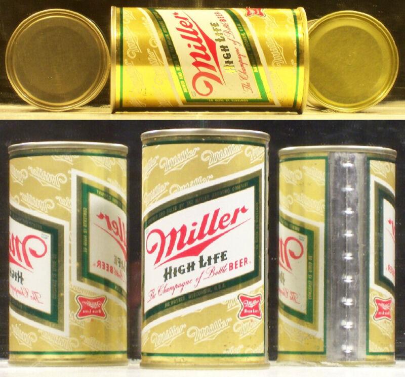 Miller Beer Flat Top Can ((( Bottle Beer Version ))) Bronze Matchings Ends Bc882