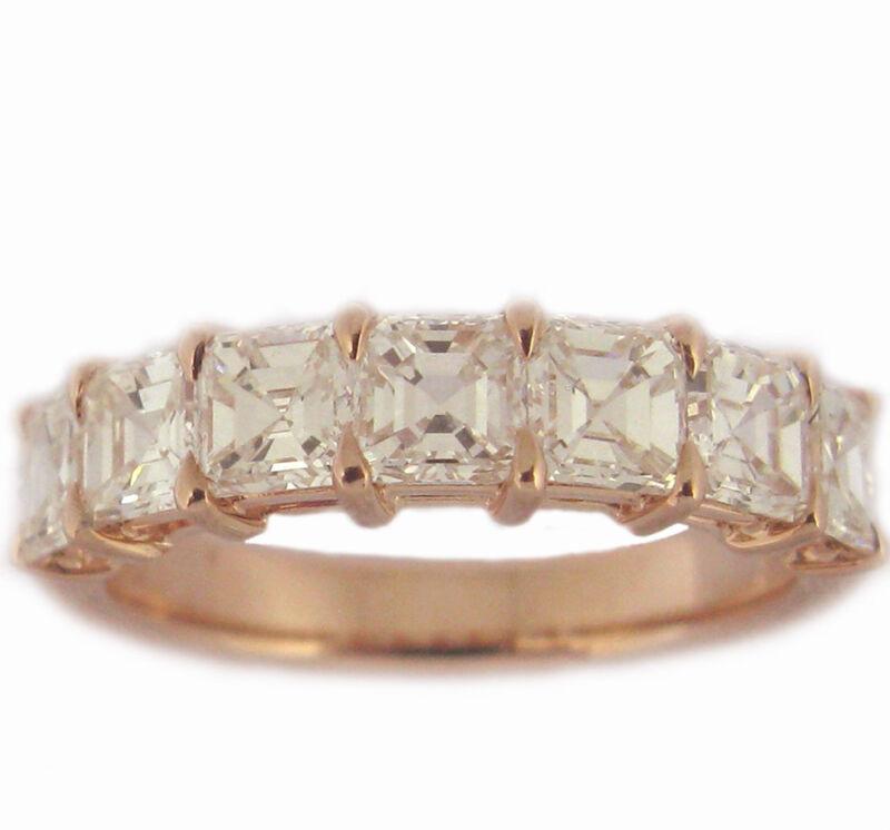 18k White Gold Asscher Cut 2.10 Carat Diamond Eternity Band Prong Style