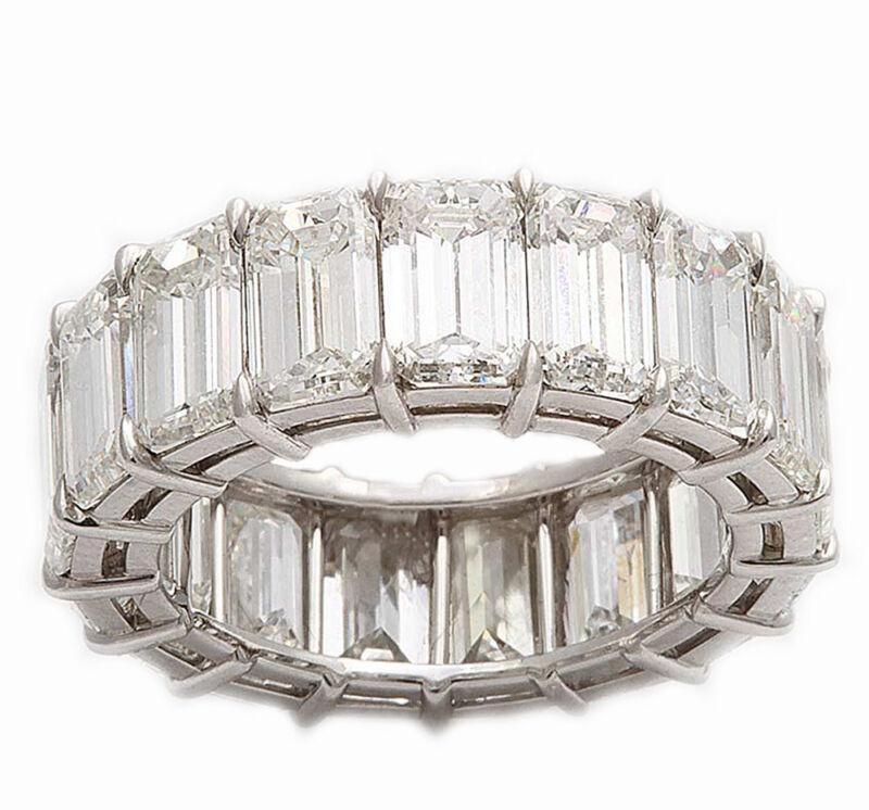 Emerald Cut 6.60 Carat 18k Solid White Gold Diamond Eternity Ring Prong Setting