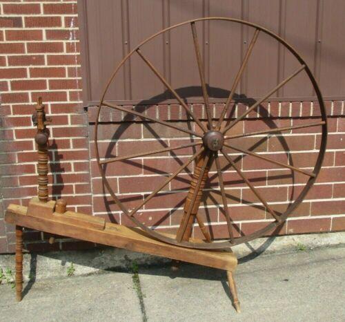 Beautiful, Huge (48-inch wheel) Antique Walking Spinning Wheel-Handmade-12 Spoke