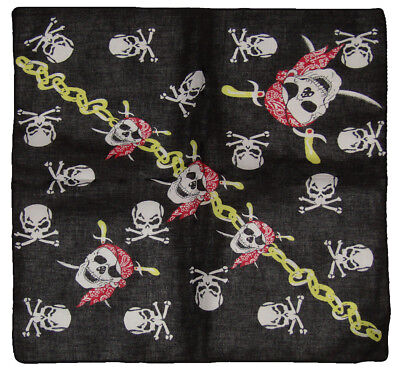 Lot of 6 Pirate Red Hat Pirate Crossbones W/ Chain 100% Cotton 22