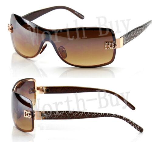 New WB Shield Womens Designer Sunglasses Shades Wrap Around Brown Retro Fashion