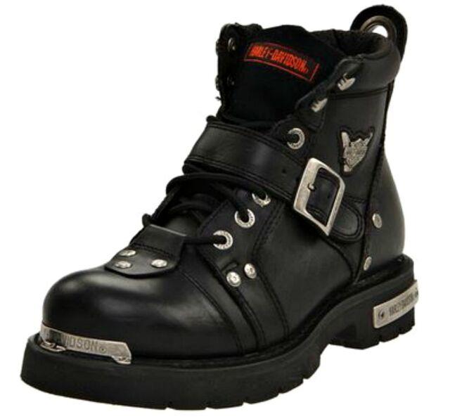Harley Davidson 91684 Black Leather Steel Toe BOOTS Low Cut Brake ...