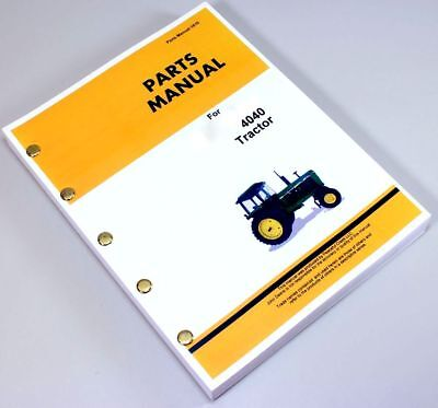 Parts Manual For John Deere 4040 Tractors Catalog Assembly Exploded Views