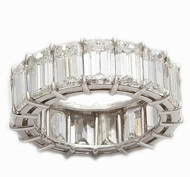 Emerald Cut Pront Set Diamond Eternity Ring 18k White Gold 9.00 Carat