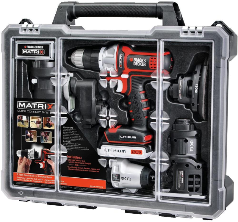 20V Cordless Drill Combo Kit with Case, 6-Tool Set