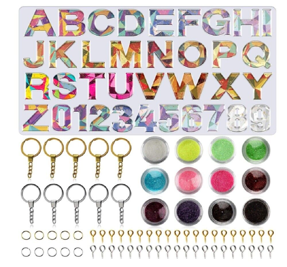 Alphabet Resin Silicone Molds Letter Number for Epoxy Molds DIY Making Keychain Crafting Pieces
