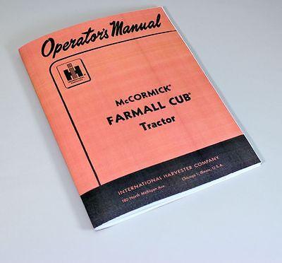 Mccormick Farmall Cub Tractor Operators Owners Manual Ihc Adjustment Carburetor