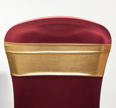 LAME SPANDEX LYCRA CHAIR BANDS WEDDING CHAIRS EVENTS DECOR  (Gold Lame)