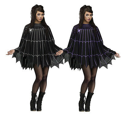 Spider Web Poncho Cape Dress Women's Sexy Easy Glitter Goth Halloween Costume