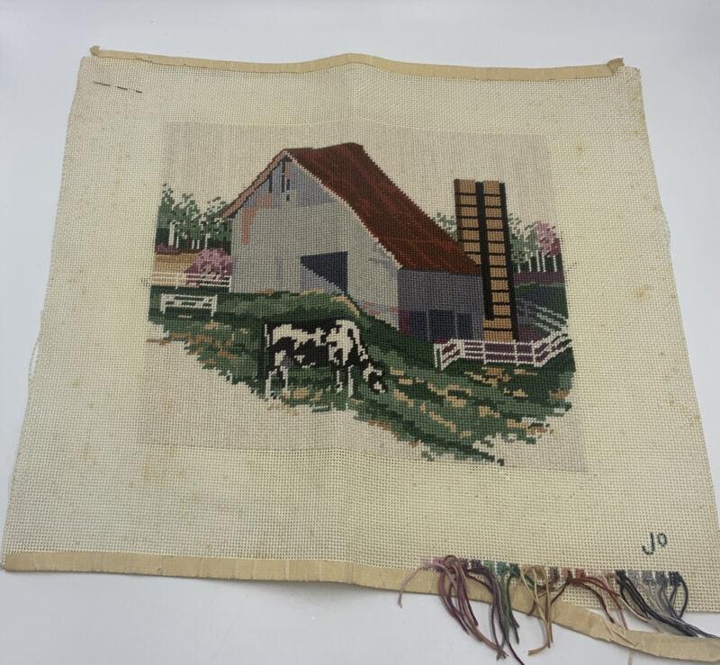 Vintage Finished Wool Needlepoint Picture Cow FARM Scene Jo Unframed