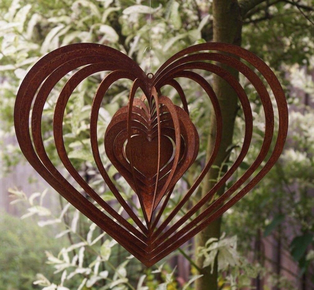 Edelrost Windspiel Spirale Herz groß 30 x 26 cm Gartendeko Geschenk