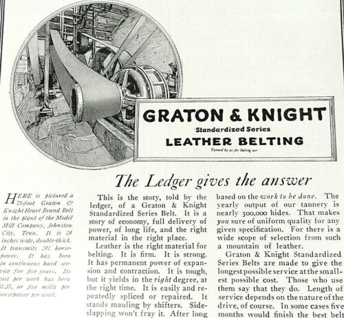 1919 Graton & Knight Print Ad - Industrial Standardized Leather Belts - May 1919