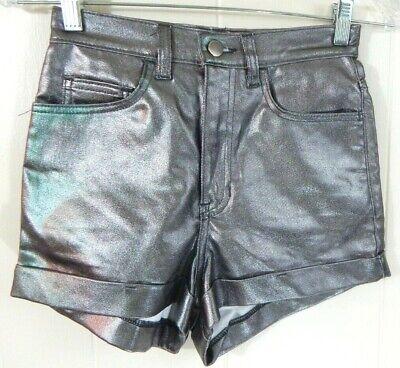 American Apparel Women's 25 0 Shorts Metallic Lame Gunmetal Green Denim EUC - Silver Lame Shorts