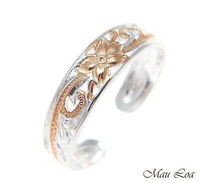 925 Silver Pink Rose Gold Hawaiian Plumeria Scroll 4mm Inside Cut Open Toe Ring