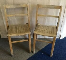 Pair of vintage industrial school church wooden chairs metal parts 1930's Arthur Chatwin kingfisher