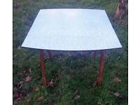 Vintage kitchen table blue marble effect retro original dining 1950's folding sides
