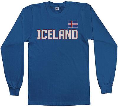 National Team Long Sleeve Tee - Threadrock Men's Iceland National Team Long Sleeve T-shirt Nordic Flag