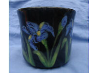 Second hand Black Pottery Plant Pot with Iris design