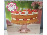Pink glass Cake Stand, 9 inch, NEW in box