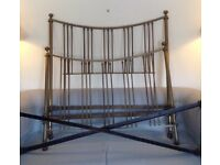 """Antique Brass Bedstead. Double 4'6"""" with side irons. In need of TLC and some renovation. Can use now"""