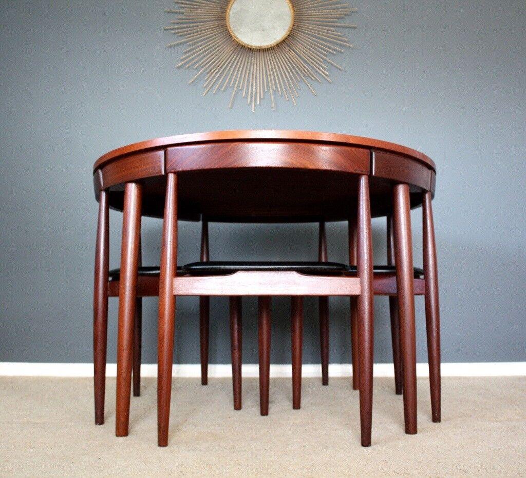 Danish Modern Hans Olsen Frem Rojle Teak Dining Table Chairs Retro Vintage 60s