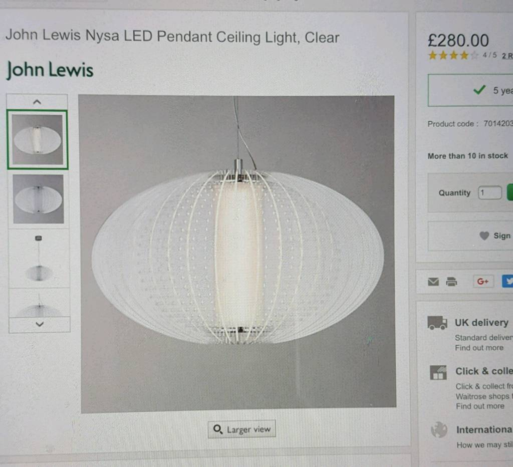 John lewis nysa led pendant ceiling light in canning town london john lewis nysa led pendant ceiling light mozeypictures Images