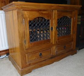 Solid Sheesham wood with wrought ironwork TV media cabinet, sideboard