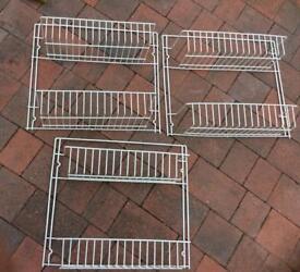 3 x white wire rack storage shelves /door/wall