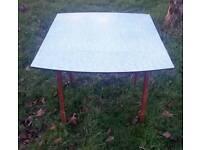 Vintage kitchen dining table blue marble effect retro original c1950's seats 4 folding