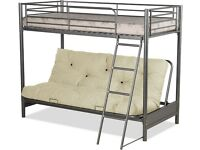 🚨LUXURY FUTON BUNK BED 🚨SILVER METAL 🚨SINGLE — BOTTOM 🚨 FREE DOUBLE MATTRESS