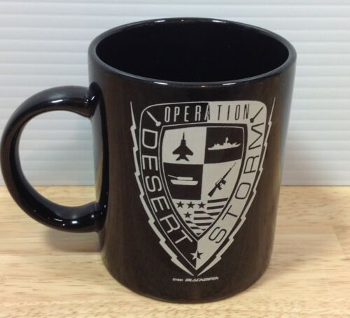 Operation Desert Storm Black Mug 1991 Emblem Blackbird Aircraft Iraq Gulf War