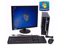 """Acer Veriton X275 SFF Pc Core 2 Duo E7500 4GB Memory 640GB Hardrive Windows 7 + 19"""" Monitor"""