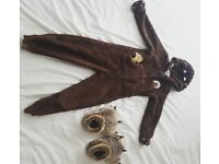 Marks & Spencer Gruffalo onsie age 5-6 years with furry claw slippers size 12