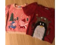 Worn once two Christmas jumpers from next