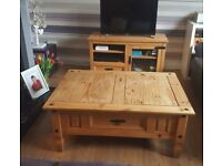 Beautiful Solid pine coffee table with matching TV cabinet