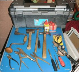 Over 10 Hand Tools With Box Incl Lump Hammer Claw Hammer, Brace And Bit £10 Lot
