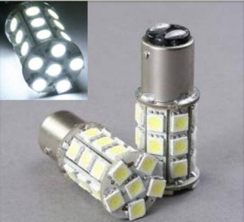 White LED #1157 12 Volt Tail Light Brake Stop Turn Signal Lamp Bulbs Pair 27SMD