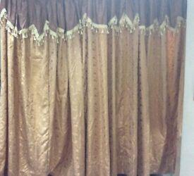 Curtains beige brown. Full length, designer