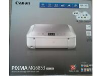 Canon Pixma MG6853 Inkjet Printer. White and silver