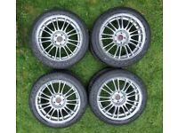 """18"""" Subaru STi BBS Genuine Forged Alloy Wheel Set & New Tyres"""