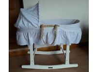 Clair De Lune White Moses Basket Stand Complete With Moses Basket.