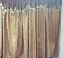Curtains, designer in gold brown, full length