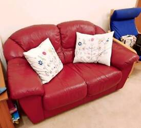 Red Leather 2-seater sofa
