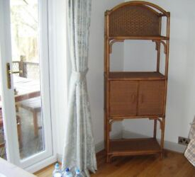 Bamboo And Rattan Display Cupboard And Shelf Unit
